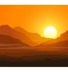 Lifeless landscape with huge mountains at sunset vector image