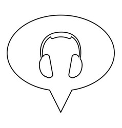 monochrome contour of oval speech with headset vector image