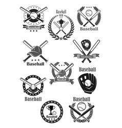 baseball club awards template icons set vector image vector image