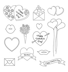 black outline valentines day clipart vector image vector image
