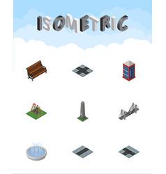 isometric urban set of bridge sitting vector image