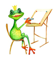 watercolor painting with a frog who is drowing vector image