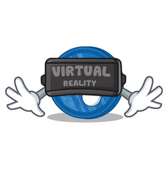 With virtual reality ripple coin character cartoon vector