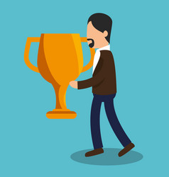 business people with trophy award training icon vector image