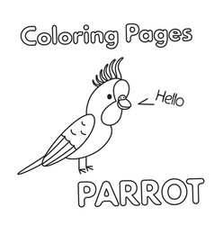 cartoon parrot coloring book vector image vector image