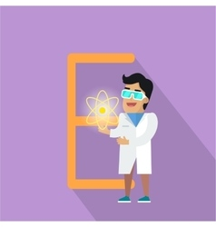 E Letter and Scientist with Electric Field vector image vector image
