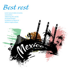 travel mexico grunge style vector image