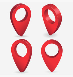 3d map pointer pin isolated red pin location vector image