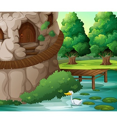 A beautiful scenery with a duck vector