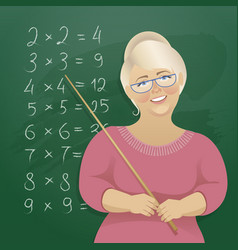 A woman teacher at the blackboard vector
