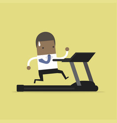 african businessman running on treadmill vector image