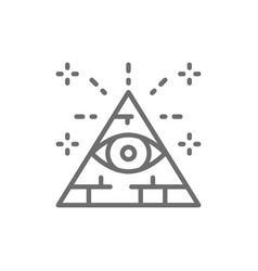 All seeing eye triangle pyramid line icon vector