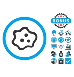 Amoeba Flat Icon with Bonus vector