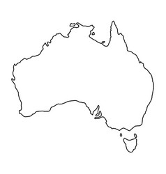 Australia map of black contour curves of vector