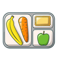 Banana apple and carrot on tray icon cartoon vector