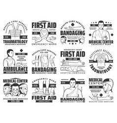 Bandages injury and fracture first aid icons vector