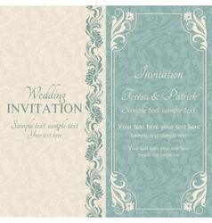 Baroque wedding invitation blue and beige vector image