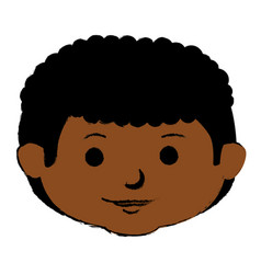 black little boy head character vector image