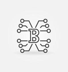 Block chain technology concept icon in thin vector