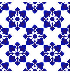 blue and white flower pattern indigo thailand vector image