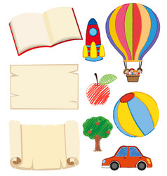 books and kids objects on white vector image