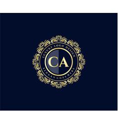 Ca initial letter gold calligraphic feminine vector