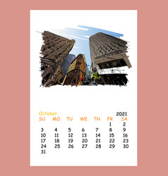 calendar sheet layout october month 2021 year vector image
