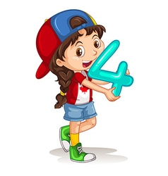 Canadian girl holding letter four vector image