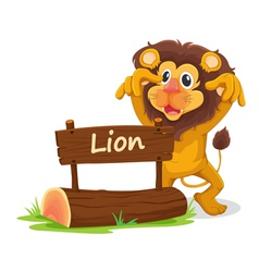 Cartoon zoo lion sign vector