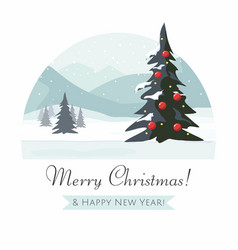 Christmas tree and mountain winter landscape vector