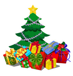 Christmas tree with decorations gift boxes vector