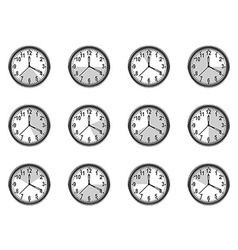 Clock measure icons set vector