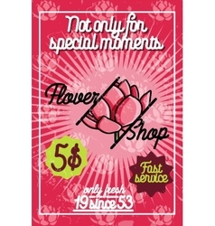 Color vintage flower shop poster vector