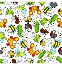 Colorful cartoon funny insects seamless pattern vector