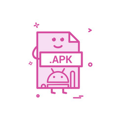 computer apk file format type icon design vector image