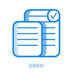 consent line icon - outline symbol of documents vector image
