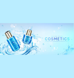 Cosmetic products in water splash vector
