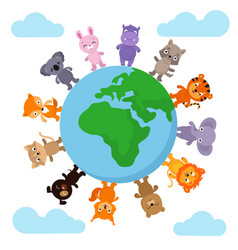 cute and funny baanimals walking around earth vector image