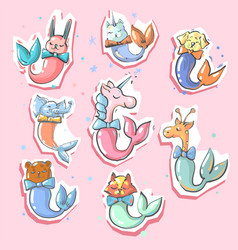 cute animals with fish mermaid tails 8 stickers vector image