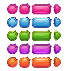 Cute colorful glossy girlie buttons vector image