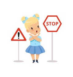 cute girl and warning road signs traffic vector image