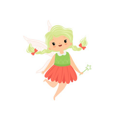 Cute little winged fairy with braids lovely vector