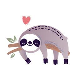 cute sloth bear animal with a heart vector image