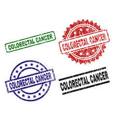 Damaged textured colorectal cancer seal stamps vector
