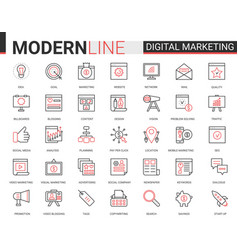 digital marketing red black line icons vector image