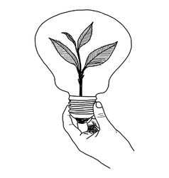 Doodles of ecology bulb on hand vector