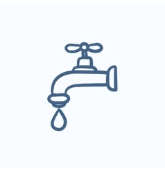 Dripping tap with drop sketch icon vector image