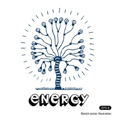 Energy tree of light bulbs vector image
