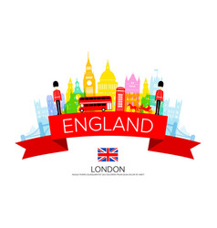 England travel landmarks vector