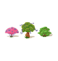 fantasy trees nature landscape elements vector image